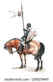 Medieval mounted knight. Templar knight on horseback.Knight illustration.