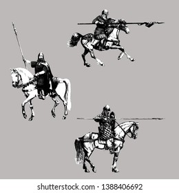Medieval mounted knights illustration. Knight on horseback. Set of 3 medieval crusaders.