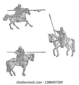 Medieval mounted knights illustration. Knight on horseback. Set of 3 medieval crusaders.