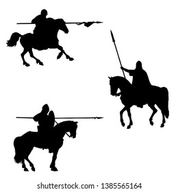 Medieval mounted knights isolated silhouette. Knight on horseback illustration. Set of 3 medieval crusaders.