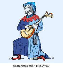 Medieval musicians with the  lute. Illustration.