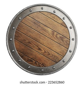 medieval old wooden vikings' shield isolated on white