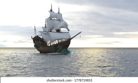 A medieval pirate ship sailing on a vast blue ocean. Concept of sea adventures in the middle ages. 3D Rendering