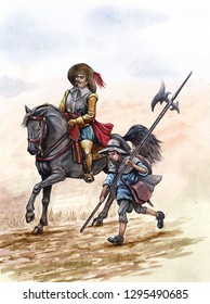 Medieval rider with Child soldier. Historical illustration. Thirty years war. Knight horseback.