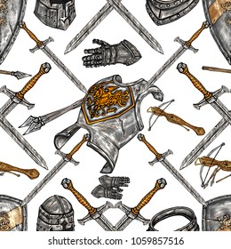 Medieval seamless pattern, legendary medieval armor,gloves and sword.medieval ancient weapons hand drawn