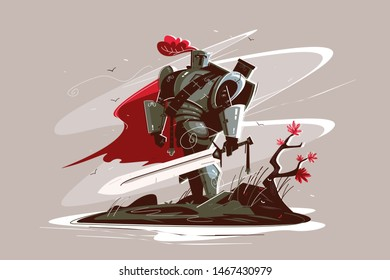 Medieval strong knight illustration. Warrior wearing iron armor and holding sword flat style design. Man standing on battlefield. War or power concept