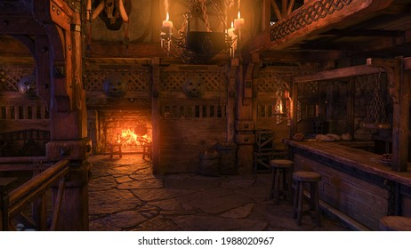 A medieval tavern bar interior lit by candle light and a fire burning in the fireplace. 3D illustration.