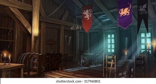Medieval tavern interior