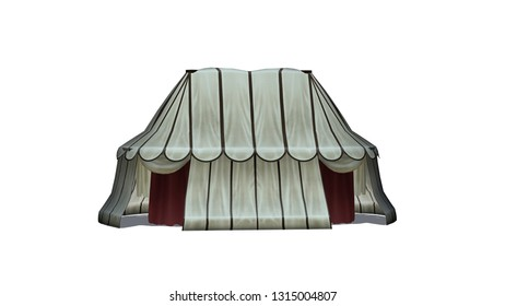 Medieval tent - isolated on white background - 3D illustration