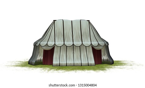 Medieval tent on a grass area - isolated on white background - 3D illustration
