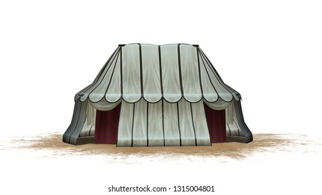 Medieval tent on a sand area - isolated on white background - 3D illustration