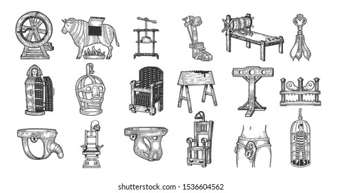Medieval torture device set with titles sketch engraving vector illustration. T-shirt apparel print design. Scratch board style imitation. Hand drawn image.