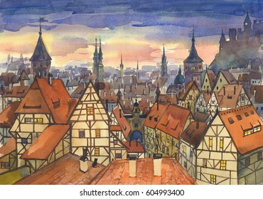 Medieval town / urban landscape with watercolor