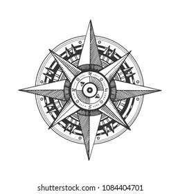 Medieval wind rose engraving raster illustration. Scratch board style imitation. Black and white hand drawn image.