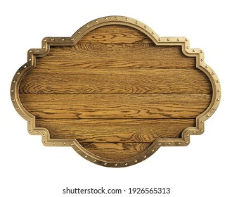Medieval wooden signboard isolated on a white background, clipping path included. 3d illustration.