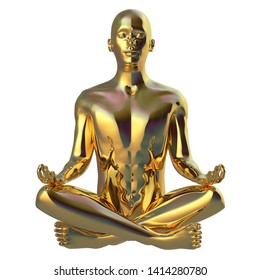 Meditate man sitting in lotus pose stylized figure golden sparkling glossy. Human peace of mind mental guru character. Peaceful nirvana yoga position symbol. 3d illustration isolated