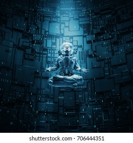 Meditating astronaut concept / 3D illustration of astronaut in lotus pose under beam of light