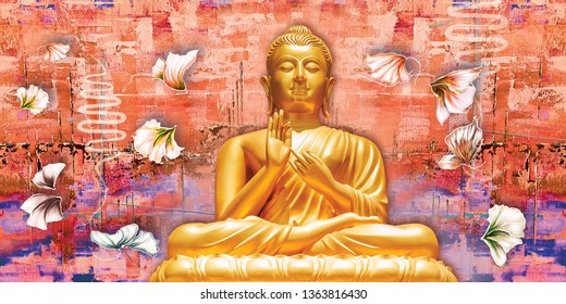 Meditating Golden Lord Buddha on decorative texture surface orange wall background 3D wallpaper-Illustration. Graphical Poster bright textured Modern artwork