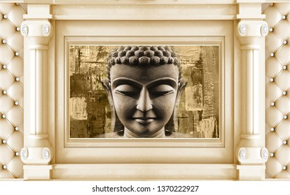 Meditating golden Lord Buddha on decorative pattern textured wall background 3D wallpaper-Illustration. Modern artwork Graphical poster