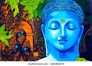Meditating Lord blue buddha with green leaf canvas texture background oil painting