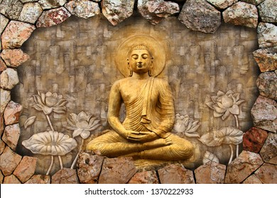 Meditating Lord Buddha on 3D decorative pattern textured stone wall background 3D wallpaper-Illustration. Modern artwork Graphical poster