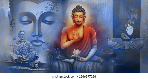 Meditating Lord Buddha on decorative texture surface blue wall background 3D wallpaper-Illustration. Graphical Poster bright textured Modern artwork