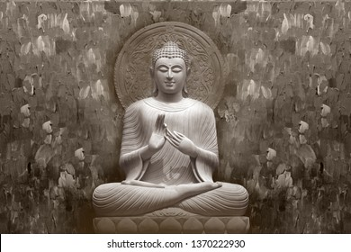 Meditating Lord Buddha on decorative pattern textured wall background 3D wallpaper-Illustration. Modern artwork Graphical poster