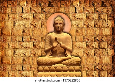 Meditating Lord Buddha on decorative pattern textured stone wall background 3D wallpaper-Illustration. Modern artwork Graphical poster