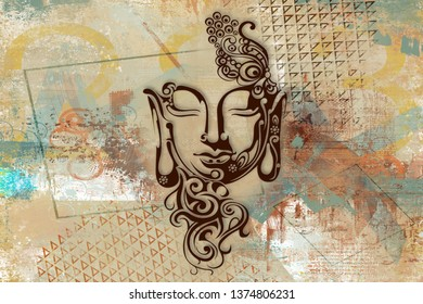 Meditating Lord Buddha on decorative pattern textured Abstract wall painting background -Illustration. Modern artwork Graphical poster
