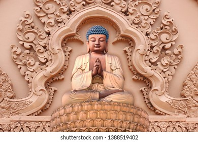 Meditating Lord Buddha on decorative  textured pattern brown wall background 3D wallpaper-Illustration. Modern artwork Graphical poster