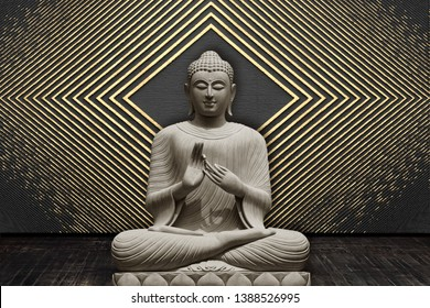 Meditating Lord Buddha on decorative  textured geometrical square pattern wall background 3D wallpaper-Illustration. Modern artwork Graphical poster
