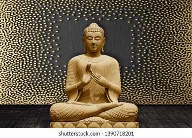 Meditating Lord Buddha on decorative  golden textured pattern wall background 3D wallpaper-Illustration. Modern artwork Graphical poster