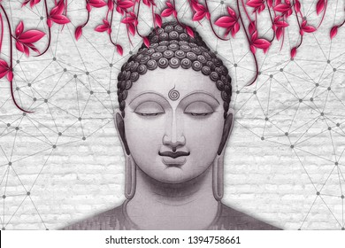 Meditating Lord Buddha on decorative  textured pattern white brick wall background 3D wallpaper-Illustration. Modern artwork Graphical poster