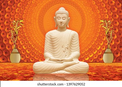 Meditating Lord Buddha on decorative  textured pattern brown background 3D wallpaper-Illustration. Modern artwork Graphical poster