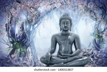 Meditating Lord Buddha on decorative  textured pattern blue natural background 3D wallpaper-Illustration. Modern artwork Graphical poster