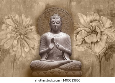 Meditating Lord Buddha on decorative  textured pattern brown floral background 3D wallpaper-Illustration. Modern artwork Graphical poster