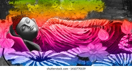 Meditating Lord Buddha on decorative  textured pattern background abstract canvas oil painting. 3D wallpaper-Illustration. Multicolor bright textured Modern artwork