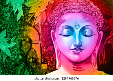 Meditating Lord buddha in Pink with green leaf canvas texture background oil painting