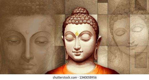 Meditating lord buddha texture background painting