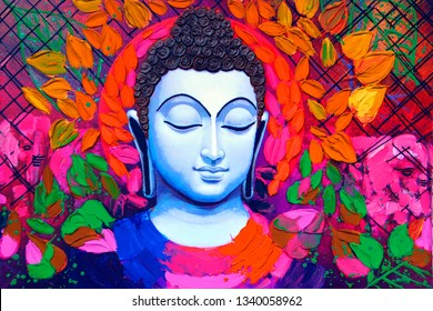Meditating lord buddha texture colorful background canvas oil painting