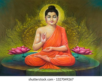 Meditating lord buddha texture gold background canvas oil painting