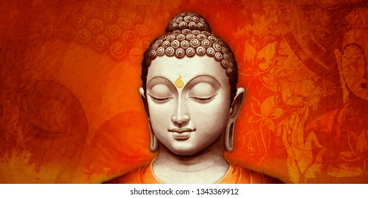 Meditating lord buddha texture orange background painting. Colored bright texture. Abstract artwork  - Illustration