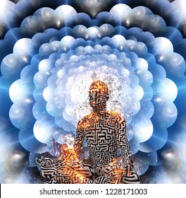 Meditation. Burning figure of man with maze pattern in lotus pose. Multi layered spaces. 3D rendering