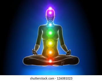 Meditation - Chakras Anatomy concept