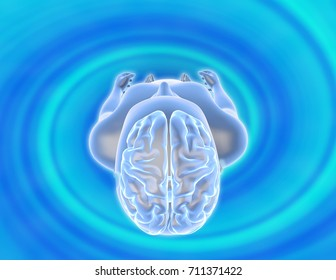 Meditation, hypnosis, hypnotic state of mind concept 3D illustration.