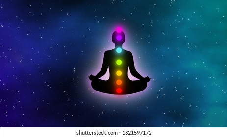 Meditation man with aura and seven chakras in the galaxy illustration concept design background.