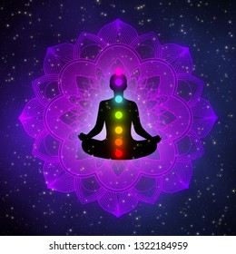 Meditation man with aura, seven chakras, and glow mandala in the galaxy illustration concept design background.