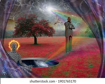 Méditation. Un homme en lotus pose avec son halo en feu. Rendu 3D