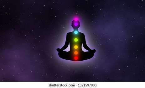 Meditation mand with glow aura and seven chakras in the galaxy illustration concept design background.