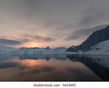 meditative scene of a calm wintry lake at sundown